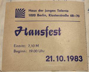 Eintrittskarte zum Hausfest (zur Verfügung gestellt von Ralf Köbernick)